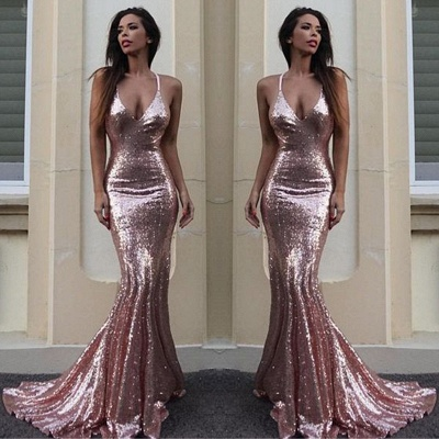 Sequins V-Neck Mermaid Sequins Gorgeous Prom Dress_3
