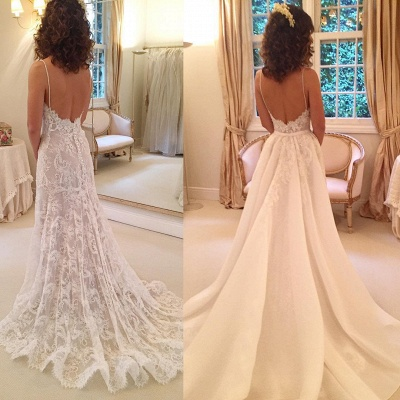 Sexy Sheath Backless Appliques Spaghetti-Straps Wedding Dresses_3