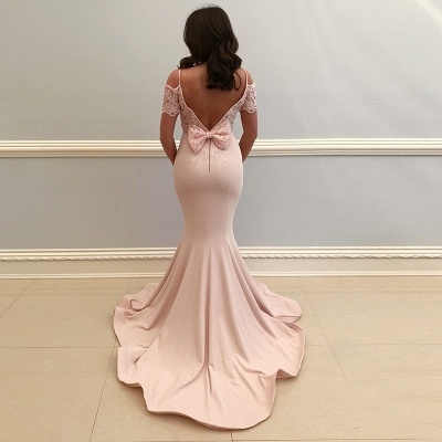 Elegant Pink Mermaid Prom Dresses | Sexy Lace Appliques Open Back Evening Dresses_4