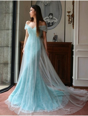 Stunning Mermaid Off-the-shoulder Prom Dress Lace Tulle Prom Dress_2