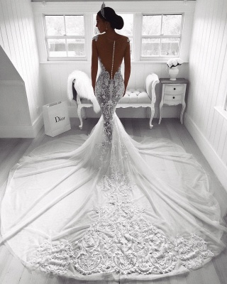 Sexy Lace Mermaid Wedding Dresses   See-Through Cap Sleeves Tulle Bridal Gowns_3