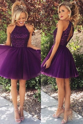 Halter Crystals Beaded Short Ruched Open Back Mini Homecoming Dresses_1