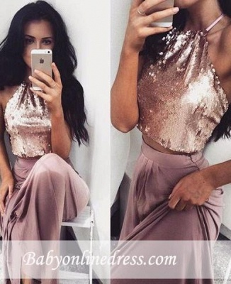 Glossy Two-Piece Halter-Neck Prom Dresses 2018 Sequins Long Sleeveless Eveving Gowns BA4434_3
