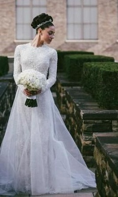 Lace Beaded Mermaid Wedding Dresses Long Sleeves with Overskirt Elegant Bridal Gowns_4