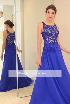 Scoop Beading Blue Chic Chiffon A-line Evening Dress_3