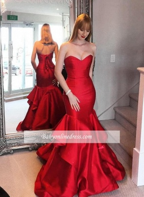 Sweetheart Red Lace-up Mermaid Tired Sweep-trian Evening Dress_3
