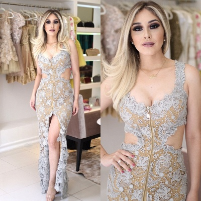 Cutaway Lace-Applique V-Neck Front-Slit Sleeveless Sexy Prom Dresses_3