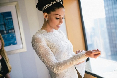 Lace Beaded Mermaid Wedding Dresses Long Sleeves with Overskirt Elegant Bridal Gowns_3