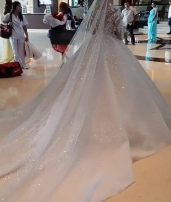 Jewel Lace Appliques Tulle Princess Ball Gown Wedding Dresses with Long Sleeves_5