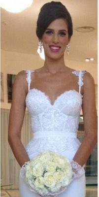 Sexy Mermaid Summer Beach Wedding Dresses | Spaghetti Straps Lace Bridal Gowns_1