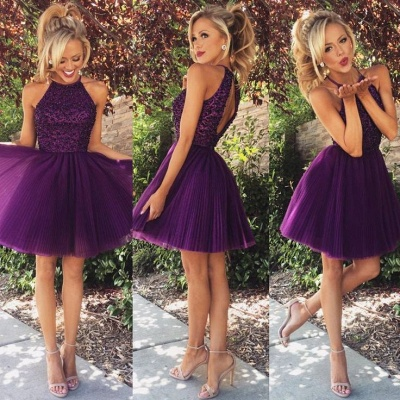 Halter Crystals Beaded Short Ruched Open Back Mini Homecoming Dresses_2