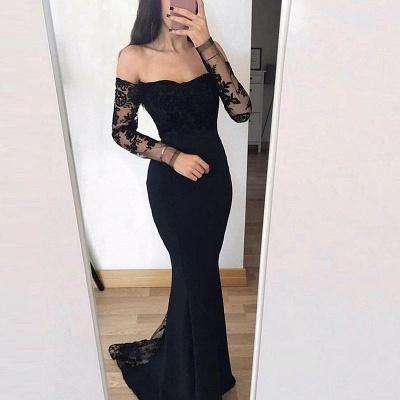 Elegant Off-The-Shoulder Mermaid Prom Dresses | Long Sleeves Lace Applique Evening Dresses_4
