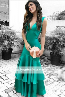 Sexy Green Open Back Cheap Sleeveless Ruffles Evening Dresses_4