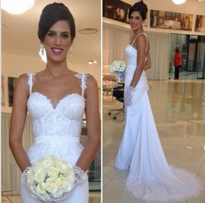 Sexy Mermaid Summer Beach Wedding Dresses | Spaghetti Straps Lace Bridal Gowns_3