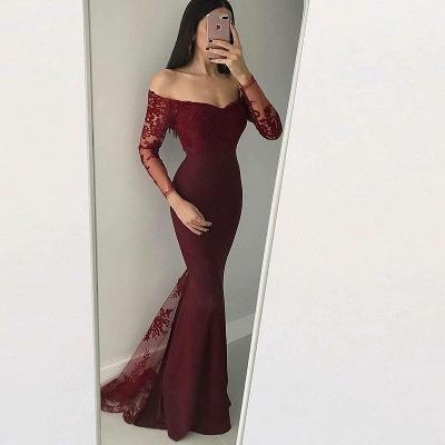Elegant Off-The-Shoulder Mermaid Prom Dresses | Long Sleeves Lace Applique Evening Dresses_3