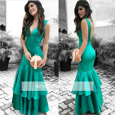 Sexy Green Open Back Cheap Sleeveless Ruffles Evening Dresses_3