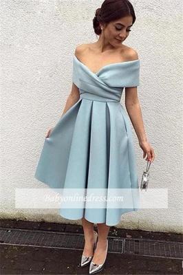 Baby Blue Satin Prom Dress Tea Length Off-the-shoulder Evening Dresses_1