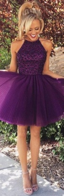 Halter Crystals Beaded Short Ruched Open Back Mini Homecoming Dresses_4