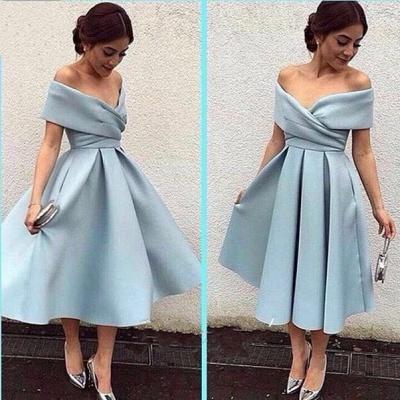 Baby Blue Satin Prom Dress Tea Length Off-the-shoulder Evening Dresses_3