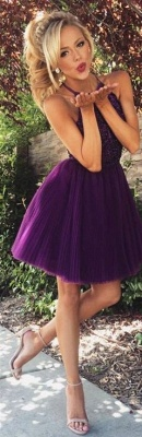 Halter Crystals Beaded Short Ruched Open Back Mini Homecoming Dresses_3