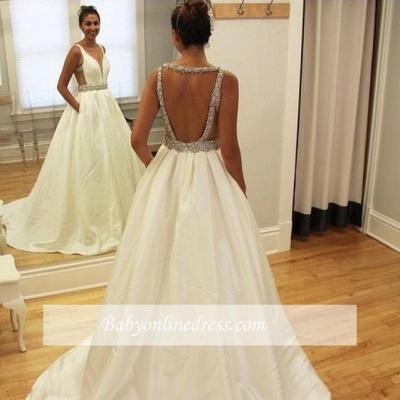 Ball-Gown Deep-V-Neck Sleeveless Simple Beading Open-Back Straps Wedding Dresses_1