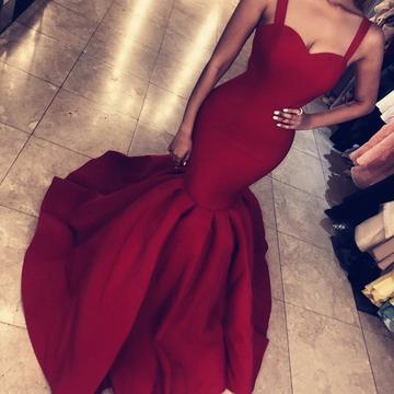 Sexy Straps Mermaid Prom Dresses | Red Sleeveless Evening Gowns_6
