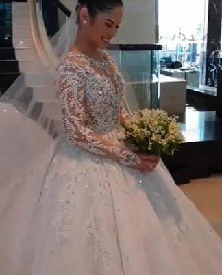 Jewel Lace Appliques Tulle Princess Ball Gown Wedding Dresses with Long Sleeves_4