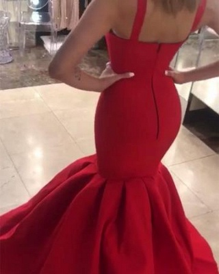 Sexy Straps Mermaid Prom Dresses | Red Sleeveless Evening Gowns_4