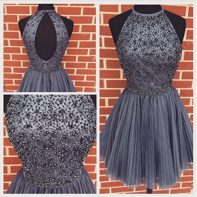 Halter Crystals Beaded Short Ruched Open Back Mini Homecoming Dresses_5