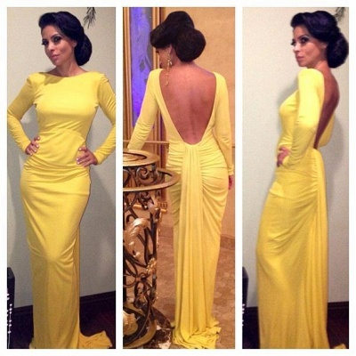 Yellow Long Sleeves Sheath Evening Dresses | Sexy Open Back Prom Dresses Panel Train_3