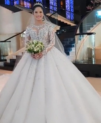Jewel Lace Appliques Tulle Princess Ball Gown Wedding Dresses with Long Sleeves_6