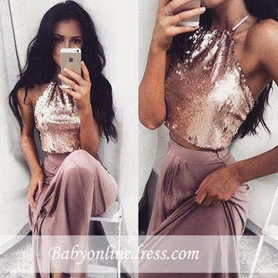 Glossy Two-Piece Halter-Neck Prom Dresses 2018 Sequins Long Sleeveless Eveving Gowns BA4434_1