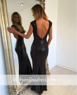 Backless Sexy Cap-Sleeve Mermaid Black Jewel Sequined Prom Dress_3