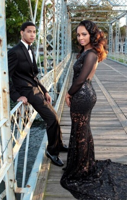 Black Mermaid Prom Dresses Long Sleeves Open Back Sheer Fabric Sexy Evening Gowns_3