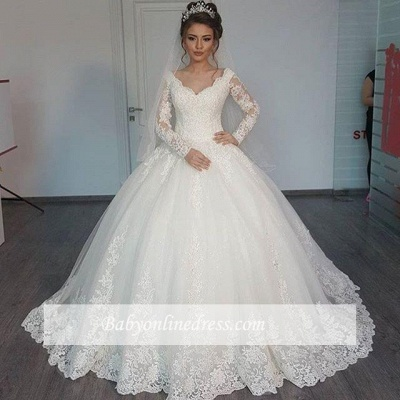 Elegant Lace Ball Gown Wedding Dresses | Long Sleeves V-Neck Bridal Gowns_1