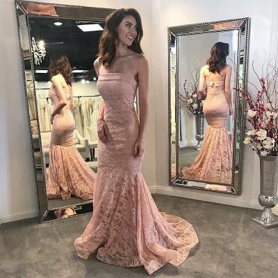 Pink Lace Mermaid Prom Dresses | Elegant Strapless Evening Dresses Sweep Train_3