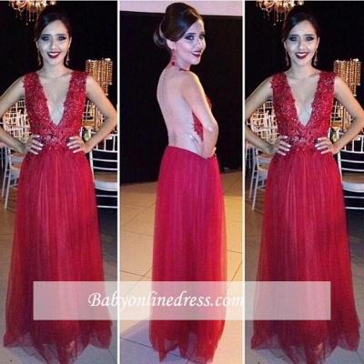 New Arrival Red Appliques V-Neck Prom Dress Tulle Floor-length Evening Gowns_3