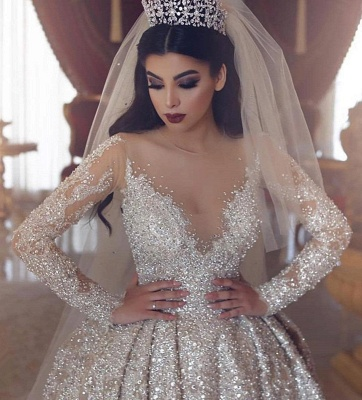 V-neck Lace Appliques Ball Gown Long Sleeves Wedding Dresses_3