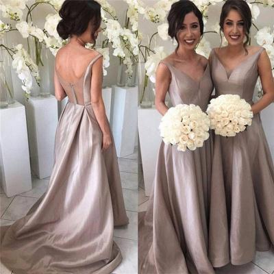 Stretch-Satin Simple V-neck Sleeveless Sheer-Tulle Open-Back Bridesmaid Dress_3