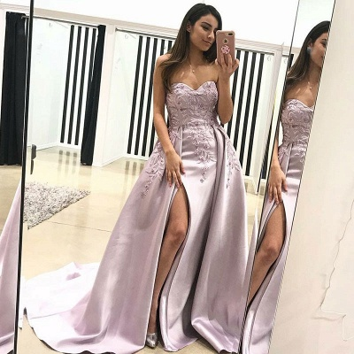 Gorgeous Sweetheart Puffy Prom Dresses | Lace Appliques Over-Skirt Evening Dresses_3