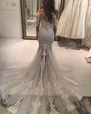 Gorgeous Pearls Fit and Flare Wedding Dresses   Off-the-Shoulder Lace Appliques Bridal Gowns_3