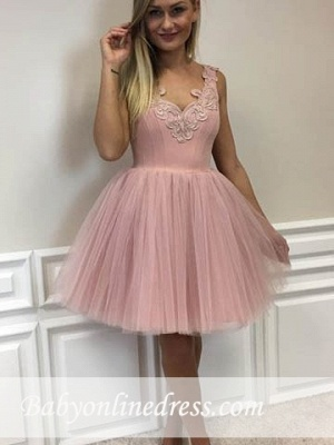 Lace-Appliques Short Tulle A-line Cute Pink Homecoming Dresses_1