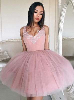 Lace-Appliques Short Tulle A-line Cute Pink Homecoming Dresses_4