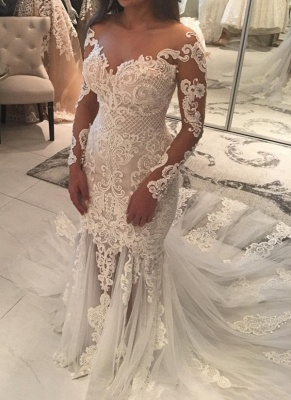 Gorgeous Pearls Fit and Flare Wedding Dresses   Off-the-Shoulder Lace Appliques Bridal Gowns_1