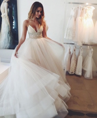 A-line Wedding Dresses Spaghettis Straps Beaded Waist Tiers Romantic Bridal Gowns_3