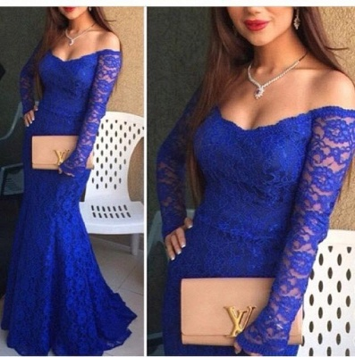 Royal Blue Mermaid Prom Dresses Lace Off the Shoulder Long Sleeves Formal Evening Gowns_3