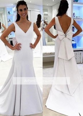 A-line Chic Backless White Simple Sashea V-neck Wedding Dress_1