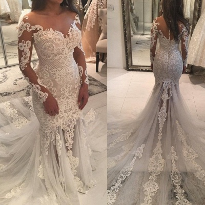Gorgeous Pearls Fit and Flare Wedding Dresses   Off-the-Shoulder Lace Appliques Bridal Gowns_4