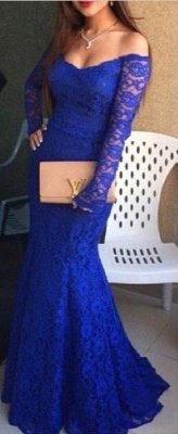 Royal Blue Mermaid Prom Dresses Lace Off the Shoulder Long Sleeves Formal Evening Gowns_1