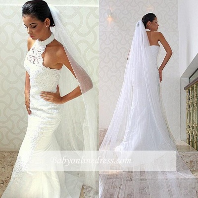 Court train Sexy Sleeveless Mermaid Halter Lace Wedding Dresses_1
